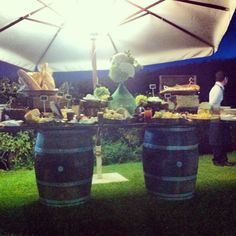 Wine barrel buffet