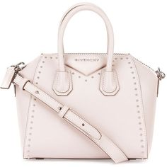 Givenchy Antigona Mini Studs Couture Satchel Bag (2,905 CAD) ❤ liked on Polyvore featuring bags, handbags, nude, handbags totes, satchel handbags, givenchy handbags, pink purse and zip top tote