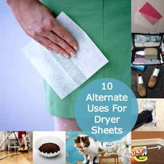 10 Alternate Uses for Dryer Sheets- including vacuum deodorizer. Diy Cleaning Products, Cleaning Solutions, Cleaning Hacks, Uses For Dryer Sheets, Making Life Easier, Clean Freak, Cleaners Homemade, Craft Activities, Organization Hacks