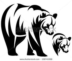 Illustration of walking bear and animal head black and white outline emblem vector art, clipart and stock vectors. Tribal Bear, Arte Tribal, Tribal Lion, Bear Clipart, Bear Vector, Silhouette Ours, Art D'ours, Bear Drawing, Tribal Prints