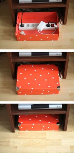 Tutoriel pour fabriquer une boîte de rangement pour fils, rallonges et multiprises http://www.homelisty.com/cacher-ranger-cables-fils-prises-electriques/