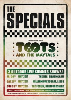 The Specials have announced 3 UK shows with reggae legends Toots and the Maytals - the first time they have ever shared the stage. They play Birmingham, [. Posters Uk, Band Posters, Vintage Posters, Music Posters, Birmingham Nec, Ska Music, Music Flyer, Norse Tattoo, Rude Boy