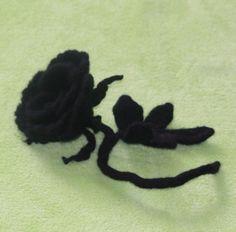 felted brooch / rose/ flower brooche /felted black rose/ big black rose flower felt/ ghotic style black rose/ ghotic style by RozalkaFeltAndWool on Etsy