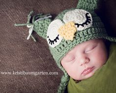 Sage Owl Baby Hat with Earflaps and Ties Photo Prop   Shower Gift in Sizes  Newborn Months Months - deal newsletter d34b71fd95f1