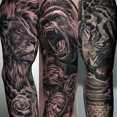 Roaring Gorilla With Calm Lion Guys Amazing Sleeve Tattoo Ideas #NeatTattoosIWouldHave