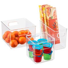 Linus™ Pantry Binz -- with handle cut out -- from ContainerStore -- or try TJ Maxx. Sort & organize everything from packaged goods and produce in a pantry to frozen vegetables in a deep freezer. They're translucent so its easy to see inside. Stackable to make the most of vertical space.