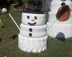 The Snowman Family Made From Tires