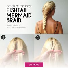 This beautiful fishtail and French braid combo may look intricate, but it'a easier then you think. One of the best tutorials for a mermaid braid i've found! Pretty Hairstyles, Cute Hairstyles, Braided Hairstyles, Updo Hairstyle, Wedding Hairstyles, Mermaid Braid, French Braid, Looks Cool, Hair Day