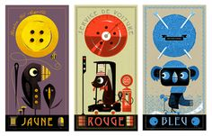 Yellow - Red - Blue Trilogy by Graham Carter. Limited edition silkscreen. Available from Boxbird.co.uk £75 each