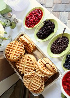craving homemade waffles for a while now. and whats better than a waffle bar!?  Food station - waffle bar idea.  This would be good for Breakfasts and brunches, get togethers, holidays, casual entertaining, party, event and  buffet food ideas.