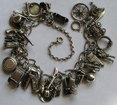 "vintage cowboy theme | vintage silver ""cowboy"" themed bracelet...perfect accessory for a ..."