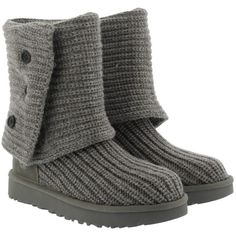 UGG W Classic Cardy Grey in grey, Boots & Booties ($160) ❤ liked on Polyvore featuring shoes, boots, ankle booties, ankle boots, grey, ugg® bootie, flat boots, gray ankle boots and flat booties
