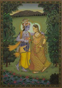 Radha Krishna - V – Artisera Krishna Painting, Madhubani Painting, Krishna Art, Radhe Krishna, Lord Krishna, Shree Krishna, Peacock Painting, Cow Painting, Music Painting