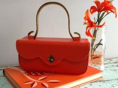50's 60's Vintage Orange Vinyl Box Purse Handbag Lucite Handle