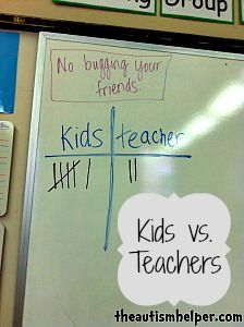 Kids vs Teachers {a crazy effective behavior management technique; kids get points when they follow directions and teacher gets points when they don't; whoever wins gets a prize} by theautismhelper.com