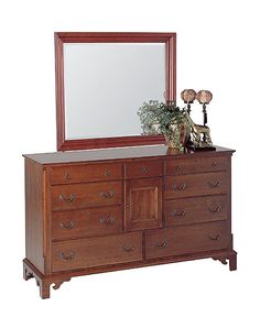 Cherry Triple Dresser with Cherry Landscape Mirror (lightly distressed) by Colonial Furniture (570) 374-8091
