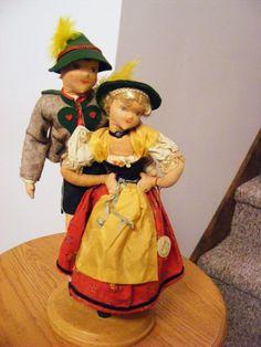 """Vintage Rare Cloth Tagged 13"""" Garmisch German Pair of Boy and Girl doll dolls  #Dolls"""