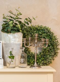 Silver Vases and Candle Holders - Wreaths in a Vintage Home