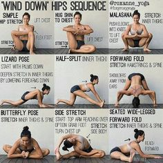 'WIND DOWN' HIPS SEQUENCE By: @roxanne_yoga Stretching at night can help your muscles relax and prepare your body for sleep. If you've been sitting at your desk the whole day or feeling right and sore from a workout, this is a perfect sequence to help you feel good before bed. Try using your breath to help you with these stretches- longer and deeper breaths when you hold the poses. Hold each pose for 30-60s, and make sure you repeat both sides if needed. #foxyroxyyoga Goodnight ✨ . #pra...