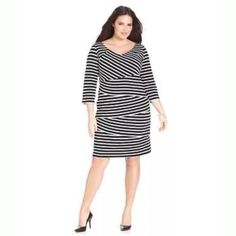 NY collection plus size dress Plus size three quarter sleeve striped tiered dress size 2X ..... Knee length ..... Rayon / spandex ..... Black / white NY Collection Dresses