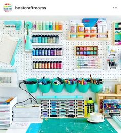 You HAVE To See The Brand New Something Turquoise Craft Studio!Great for craftsNew craft room pegboard ideas basements 28 ideas craft Informationen zu New cr.New craft room pegboard ideas basements 28 ideas craft Craft Room Storage, Pegboard Craft Room, Cricut Craft Room, Craft Organization, Kitchen Pegboard, Ikea Pegboard, Painted Pegboard, Pegboard Garage, Pegboard Display