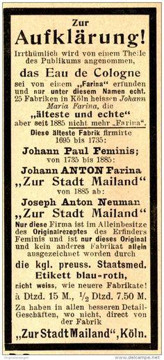 "Original-Werbung/ Anzeige 1898 : AUFKLÄRUNG ""EAU DE COLGNE"" - FARINA / ZUR STADT…"