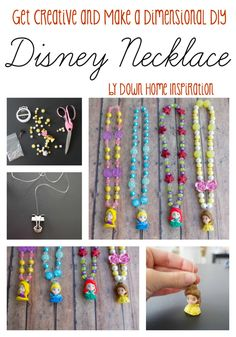 Get Creative and Make Dimensional DIY Disney Necklaces! - Down Home Inspiration **Use squinkies for princess charms! Brilliant!!