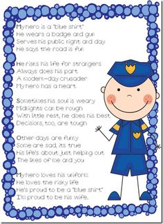 My hero-Also lots of Police Week ideas Cop Wife, Police Officer Wife, Police Wife Life, Police Officer Crafts, Community Helpers Preschool, Classroom Community, Police Party, Blessing Bags, Early Childhood Education