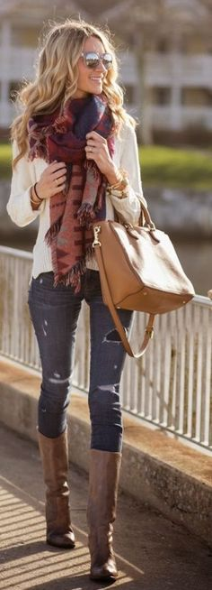 #fall #fashion / scarf + knit