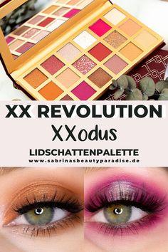 2 Augen Make-up Looks mit der XSodus Lidschattenpalette von XX Revolution. Augen Make-up Look Inspiration für grüne Augen. Augen Makeup in Pink und Braun mit Schimmer. Inspiration für Deinen nächsten Augen Make-up Look!
