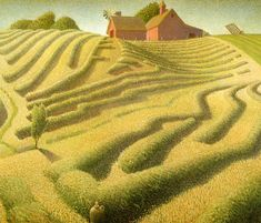GRANT WOOD. Haying, 1939, oil on canvas on paperboard mounted on hardboard.