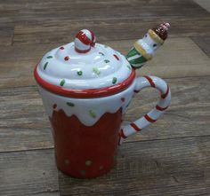 Christmas Red Cupcake Mug with Lid Spoon Coffee Mug Glass Cup | eBay