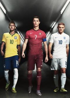 Neymar JR, Cristiano Ronaldo, and Wayne Rooney (Brazil, Portugal, and England) Soccer Boys, Soccer Stars, Sports Stars, Cr7 Vs Messi, Neymar Jr, Football Is Life, Sport Football, Good Soccer Players, Football Players