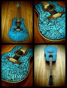 haida12STRUM - hand painted, playable 12 string acoustic guitar art.