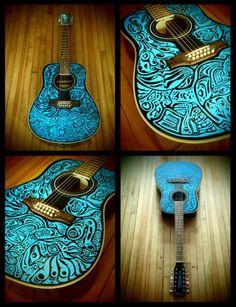 haida12STRUM - hand painted, playable 12 string acoustic guitar art.