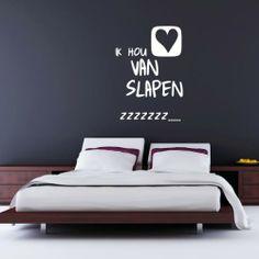 Ik Hou Van Slapen Muursticker, ontzettend leuke sticker voor op de slaapkamer!