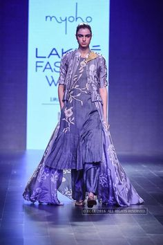 A model walks the ramp for Myoho on Day 2 of the Lakme Fashion Week Winter/Festive 2016 held in Mumbai