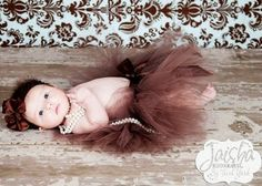brown tutu with pearls...adorable! I wish I could do this
