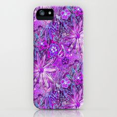 Orchid Color Doodle Flowers with a Radiant Glow iPhone & iPod Case by  RokinRonda - $35.00 @Society6