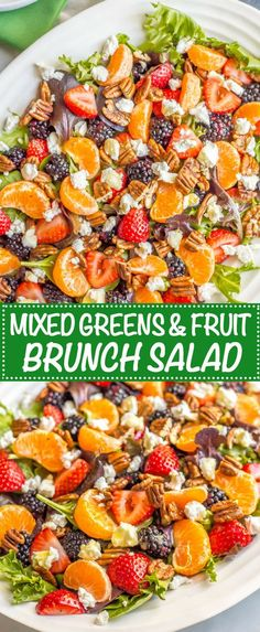 This mixed greens salad with fruit, goat cheese and nuts is perfect for a beautiful side dish or brunch spread! It comes together quickly and is finished with a super easy honey-lime vinaigrette. Brunch Appetizers, Brunch Recipes, Brunch Ideas, Brunch Food, Easy Salads, Easy Meals, Big Salads, Brunch Salad, Fruit Salad Recipes