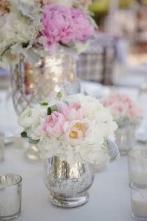 mercury glass and peonies.