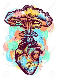 Nuclear explosion of anatomical heart color tattoo and t-shirt. Vector - Nuclear explosion of anatomical heart color tattoo and t-shirt design surreal graphic. Heart and nuclear explosion tattoo art. Symbol of love, feelings, energy, water color splashes Art And Illustration, Arte Com Grey's Anatomy, Art Sketches, Art Drawings, Drawing Art, Kunst Tattoos, Medical Art, Color Tattoo, Tattoo Art