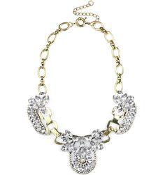 Crystals and Coffee Bib #necklace #flower #floral #gold #diamonds