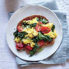Veggie Eggy Scramble | MyRecipes.com #myplate #protein #vegetables #grains