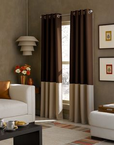 Curtainworks Kendall Color Block Grommet Curtain Panel, 84-Inch, Chocolate