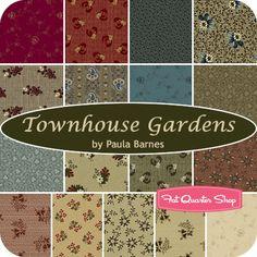 Townhouse Gardens Yardage Paula Barnes for Marcus Brothers Fabrics