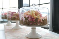 Super-cute shower decor trend - cake stands (minus the cakes!)