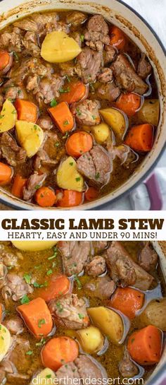 Lamb Stew is hearty and comforting, made with carrots, potatoes, and lamb in a seasoned broth, started on the stovetop and finished in the oven in under 90 minutes! We're all about hearty comfort f… Irish Recipes, Meat Recipes, Cooking Recipes, Recipes With Lamb Stew Meat, Slow Cooker Lamb Recipes, Lamb Stew Slow Cooker, Recipes For Lamb, Healthy Lamb Recipes, Scottish Recipes