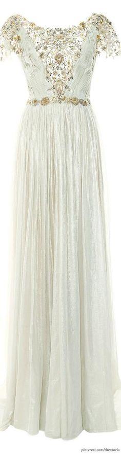 Marchesa ● Pre-Fall 2014, Pleated Silver Foil Chiffon Gown by NiqueGata