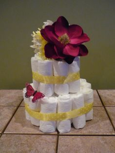Diaper cake for baby shower by jessdore304 on Etsy, $25.00